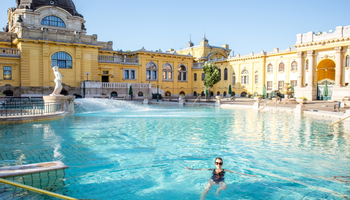 Woman relaxing at the thermal bathes in Budapest